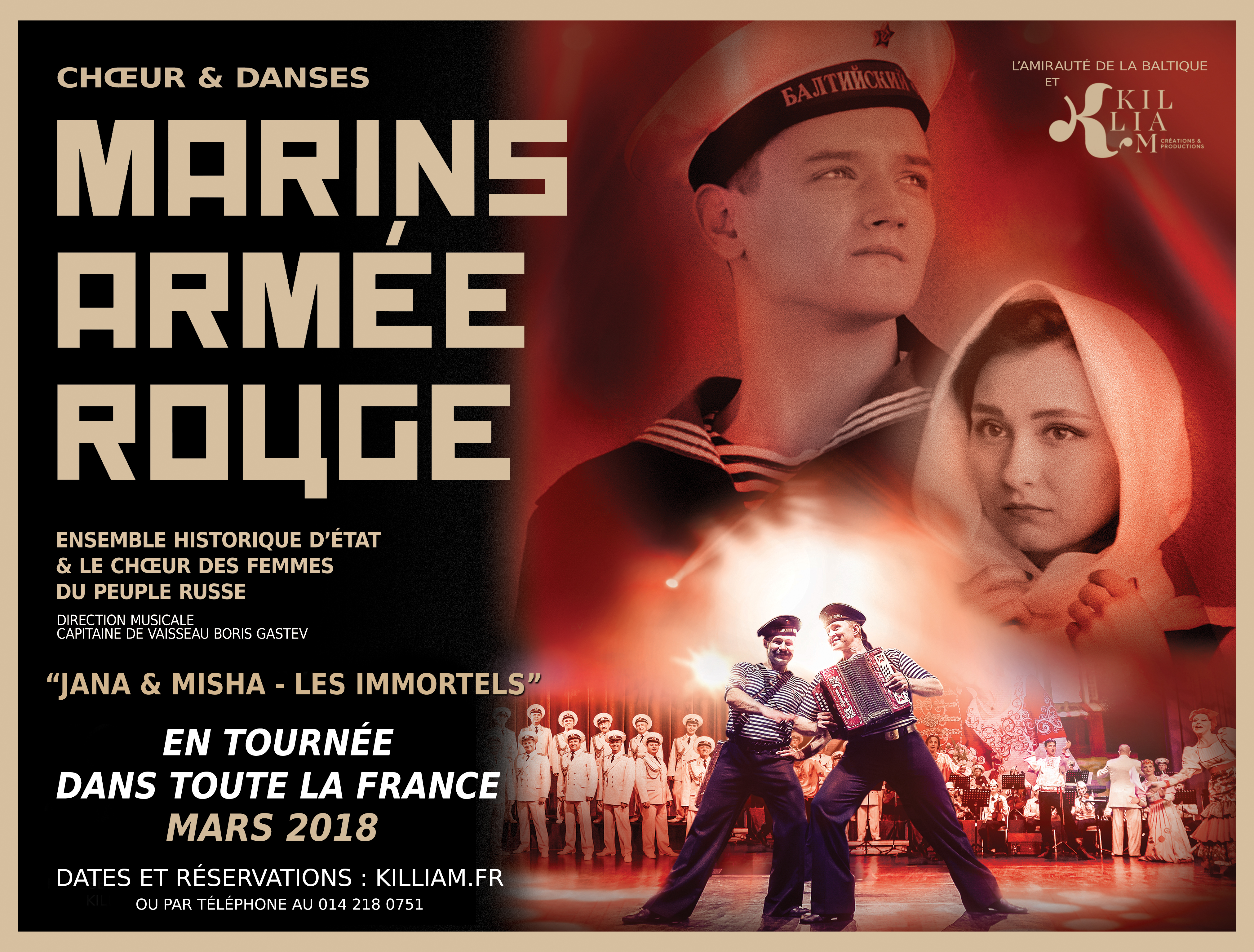 MARINS ARMEE ROUGE AFFICHE TOURNEE mars